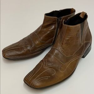 Bacco Bucci Brown leather boots size 10.5